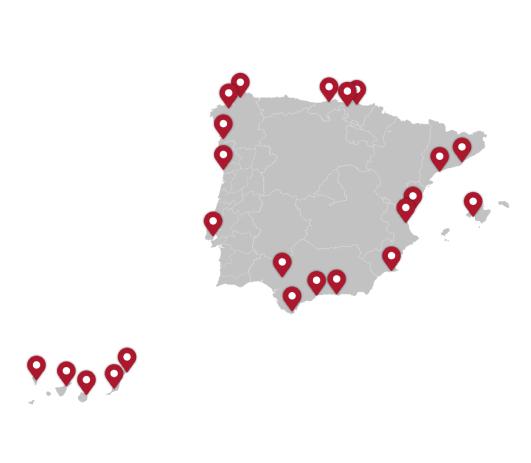 cobertura puertos de españa y portugal